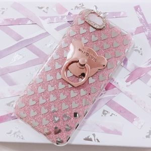 iPhone 6 Pink Glitter Bear Ring Silver Hearts Case